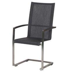 Ancona Swingstuhl hoch. Filigraner, hochwertig verarbeiteter Edelstahl/304-Rahmen kombiniert mit Batyline®-Eden Textilenegewebe in Stoffoptik und -haptik sowie grauen Aluminium-Armlehnen.