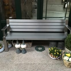 Bank Plaza Edelstahl mit Armlehne