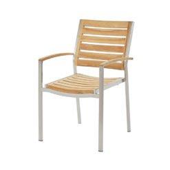 Treviso Stapelstuhl. Hochwertiger schwerer Rahmen aus Edelstahl/304 oder Edelstahl Dunkelgrau, pulverbeschichtet mit halbhoher Rückenlehne, kombiniert mit Premium Teak.