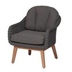 Memphis Lounge Sessel. Pulverbeschichteter Aluminiumrahmen kombiniert mit einem 5 mm runden DiGaLan®-Polyrattangeflecht
