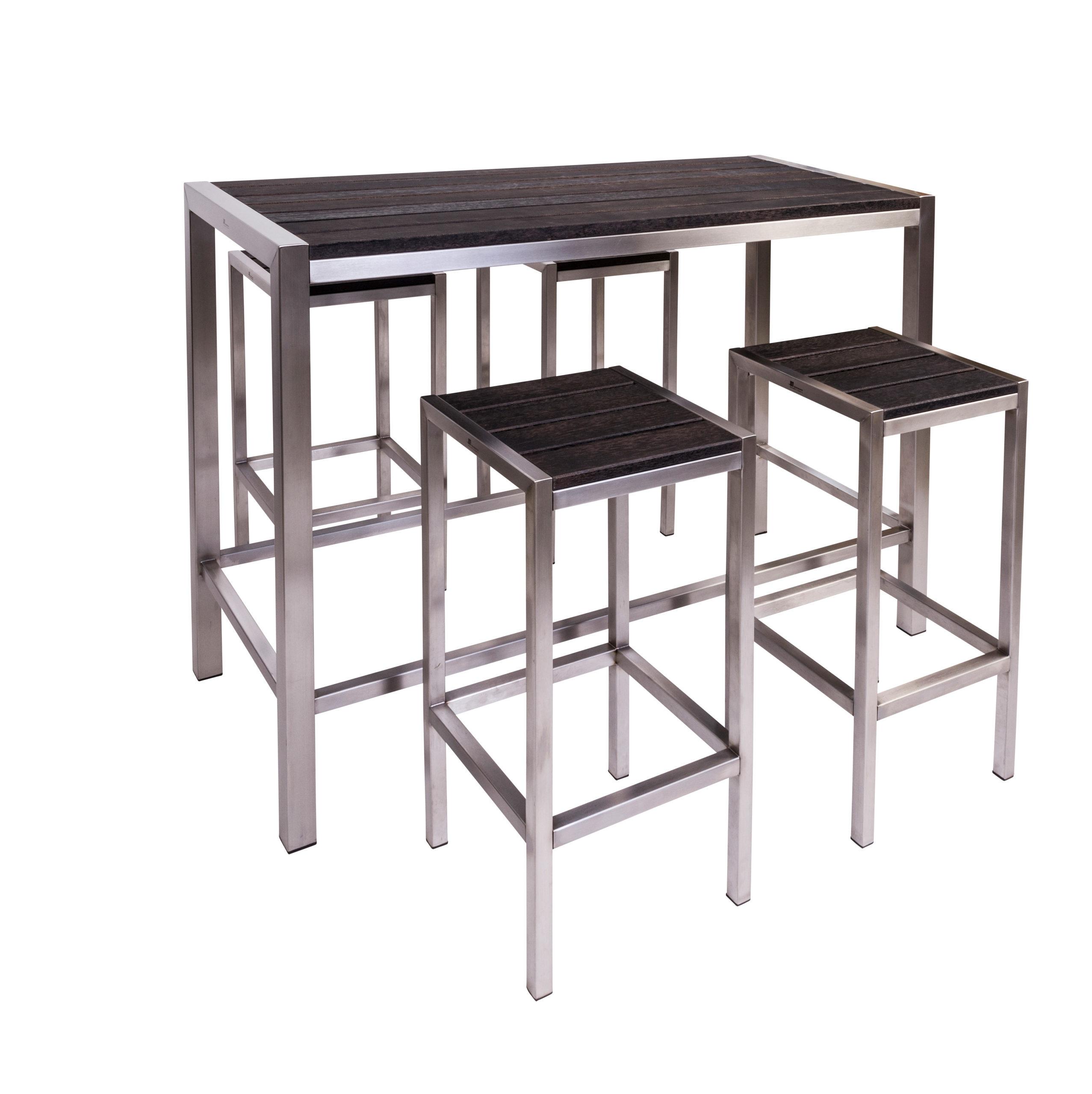 Edelstahl Barmöbel Plaza Für In-und Outdoor Schlichte Eleganz aus Edelstahl und Holz . Jedes Möbelstück ein Unikat.